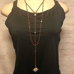 Burgundy Necklace w/ Star Pendant